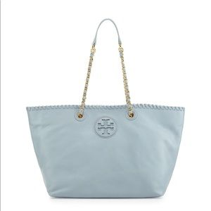 Tory Burch Marion Pebbled Tote Bag Light Blue